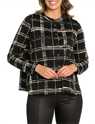 Long Sleeve Plaid Jersey Cardi