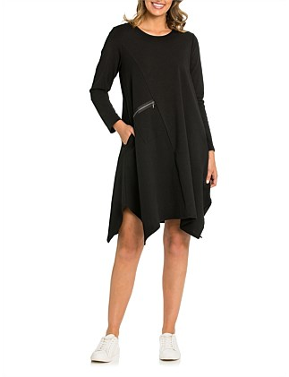 Long Sleeve Spliced Textured Dress