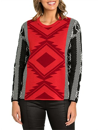 Long Sleeve Aztec Sweater
