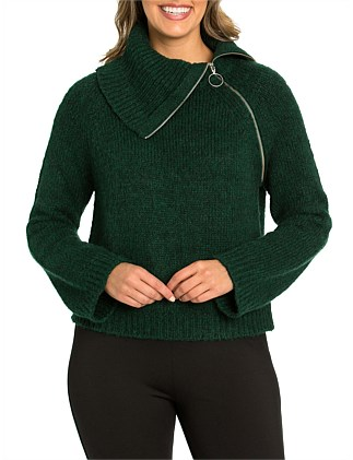Long Sleeve Relaxed Zip Sweater