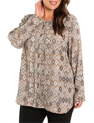 Long Sleeve Pintuck Front Shirt