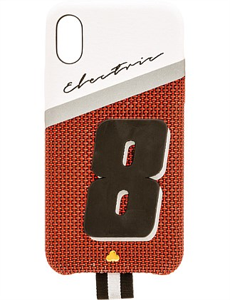 RED LEATHER ELECTRIC 8 iPHONE X CASE