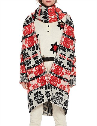 Longer length cardigan in floral jacquard pattern