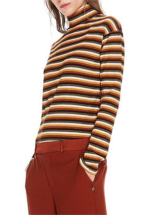 High neck long sleeve striped tee