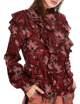 High neck printed ruffle top