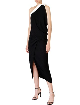 BLACK CREPE ATHENA DRESS