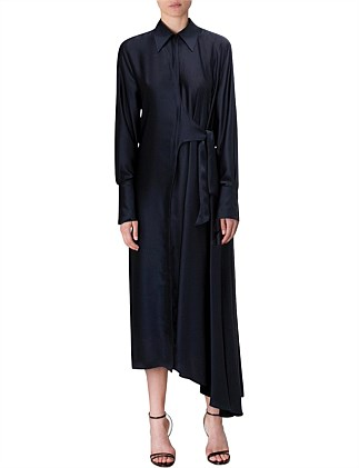 NAVY SATIN SONNET SHIRT DRESS
