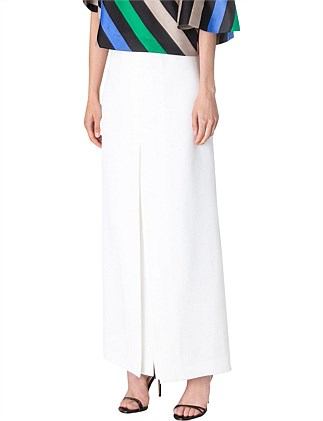 WHITE CREPE PLISSE SKIRT