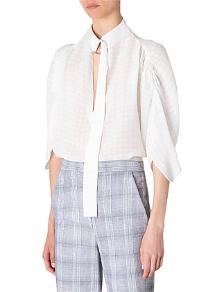 WHITE CHECK GGT GATHER TOP