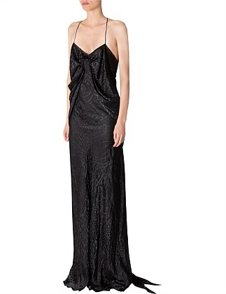 BLACK SILK DEVORE APHRODITE GOWN
