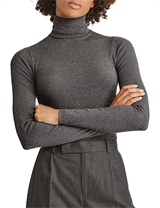 Ribbed Stretch Turtleneck