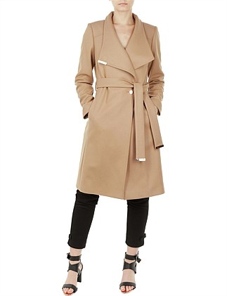 Sandra Long Wool Wrap Coat