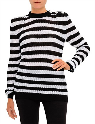 Long Sleeve 3 Button Pleated Stripe Sweater