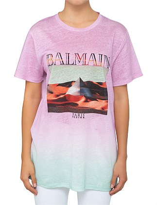 Short Sleeve Balmain Pyramid Print Faded T-Shirt