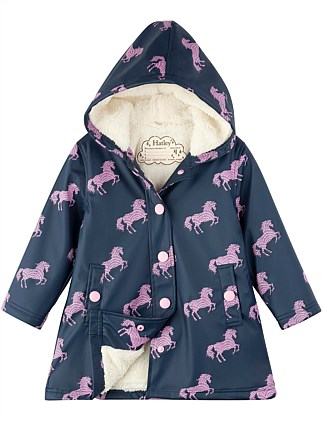 Horse Silhouettes Sherpa Lined Splash Jacket