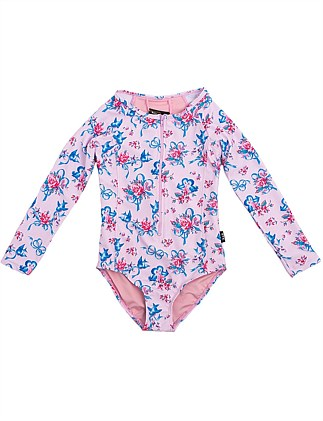 Blue Birds Long Sleeve One Piece (Girls 2-7 Yrs)
