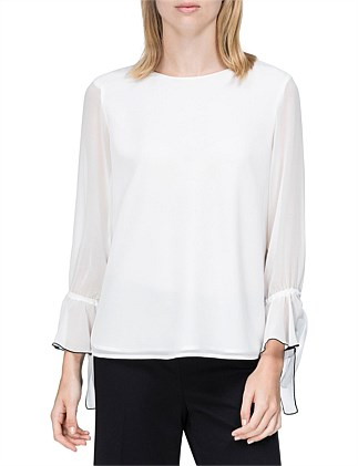 Woven Top With Sheer Chiffon Sleeve