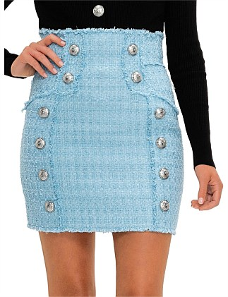 Short High Waist Tweed Skirt