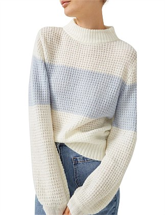 Spliced Fluffy Knit