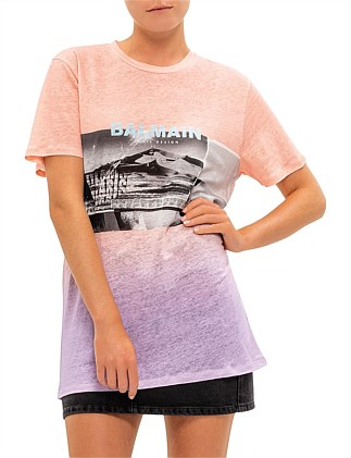 Short Sleeve Balmain Desert Print Faded T-Shirt