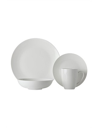 White Basics Fitzrovia Coupe Dinner Set 16 Piece Gift Boxed