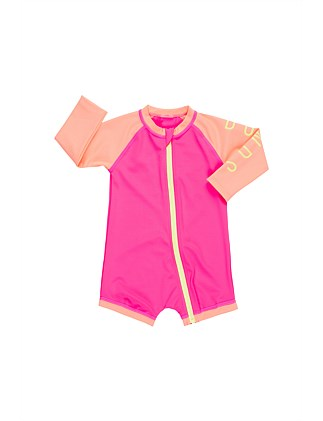 Ls Zip Swim Spliced(3M-2Y)