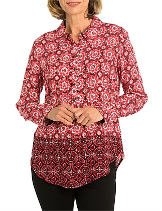 Long sleeve Ornament Spliced Shirt