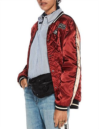 Reversible bomber jacket with embroideries