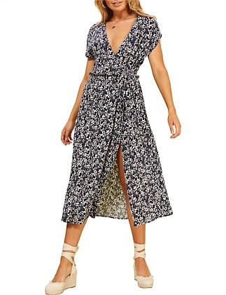 wild azelia ditsy wrap dress
