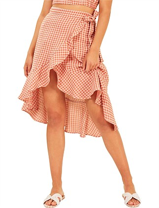 gingham wrap skirt