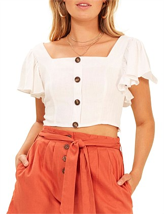 button up frilled top