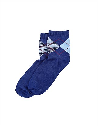 Supersoft Argyle Cropped Sock
