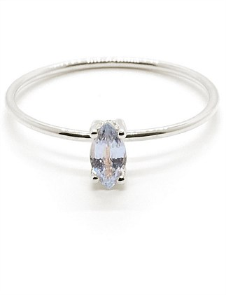 Tiny Marquise Pale Blue Sapphire Ring