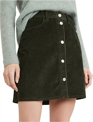 Button Front Cord Skirt