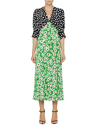 Martha Spot Daisy Contrast Short Sleeve Dress