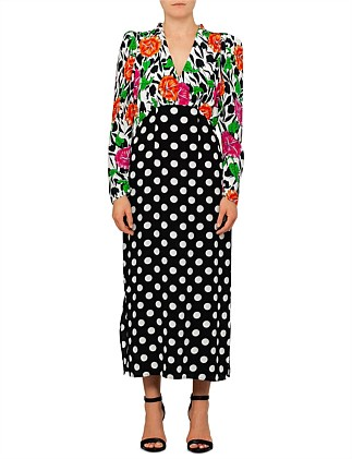 Gretal Long Sleeve Spot Floral Chain Dress