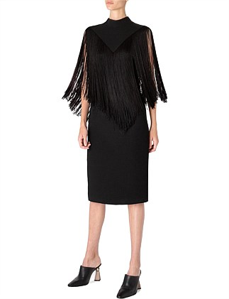 FALL FOR THE FRINGE SHEATH DRESS