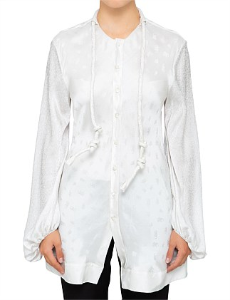 C' Logo Silk Jacquard Long Sleeve Blouse