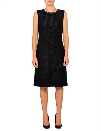 The Sleeveless Tweed Midi Pencil Dress With Hardware