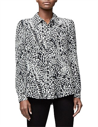 Abstract Animal Collar Blouse