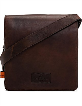 Holkam leather tablet bag in plain tan leather