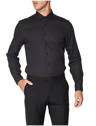 LS KINGS BASKET WEAVE SHIRT BLACK
