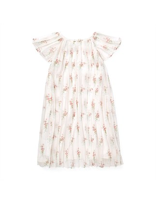 Pleated Floral Crepe Dress (2-14 Years)