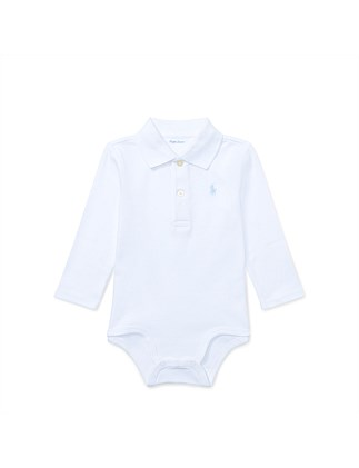 Cotton Interlock Polo Bodysuit (3-12 Months)