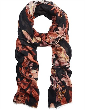 Autumn Brown Floral Scarf
