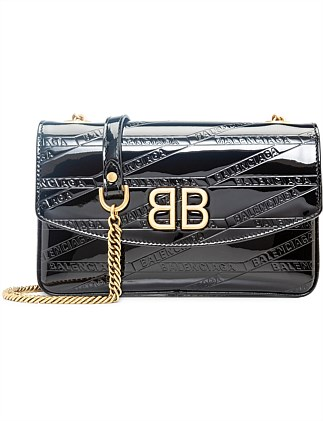 GOLD BB PATENT CHAIN WALLET MEDIUM