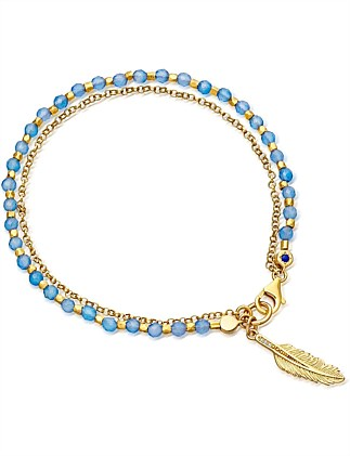 Blue Agate Smaller Feather Biography Bracelet