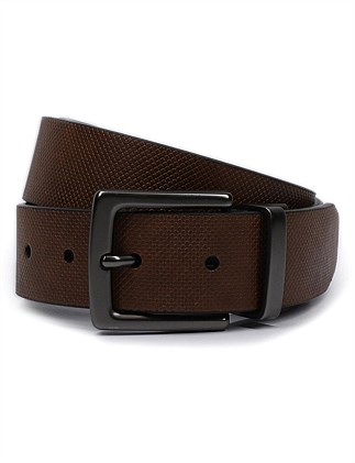 GUNMETAL BUCKLE TEXTURED REVERSIBLE BELT
