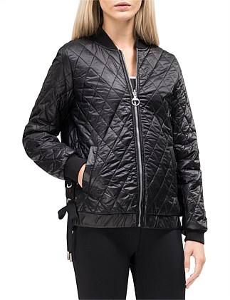 reversible bomber w/ diamond quilting & lace up sides