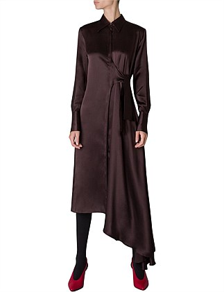 2a1c133ffd26a2 MAROON SILK SONNET DRESS